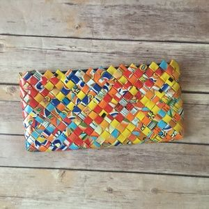 Recycled Woven Strips Candy Wrapper Handmade Purse